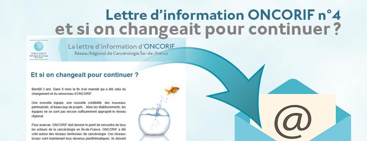 Lettre d'information ONCORIF n°4 : et si on changeait pour continuer ?