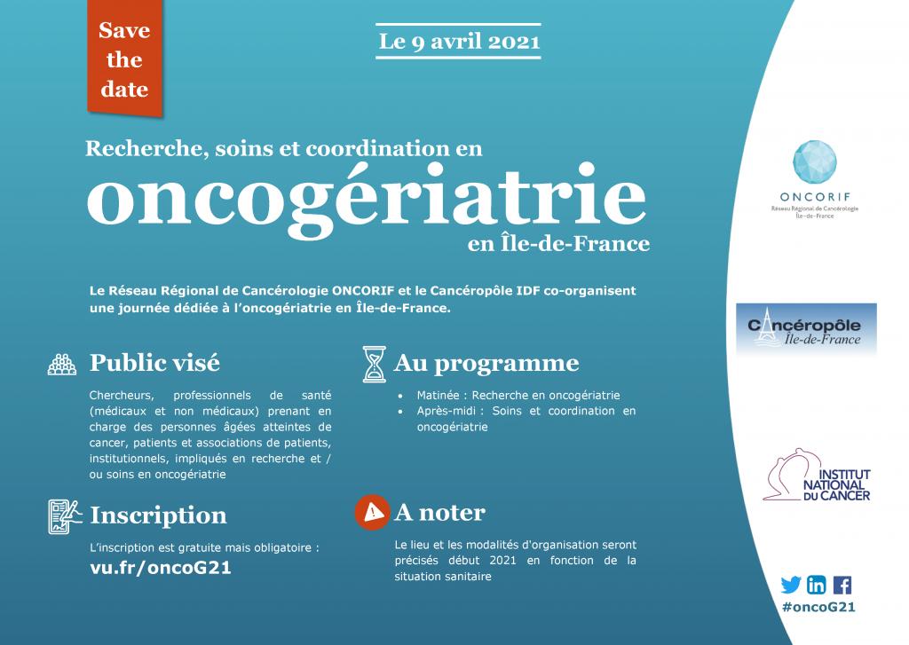 """Save the date journée """"Recherche, soins et coordination en oncogériatrie en IDF"""""""